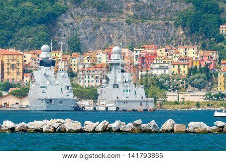 NATO Military ships in the Bay of La Spezia. Italy. Liguria.