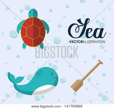 Sea animal cartoon design represented by whale and tortoise icon. Colorfull and flat illustration.