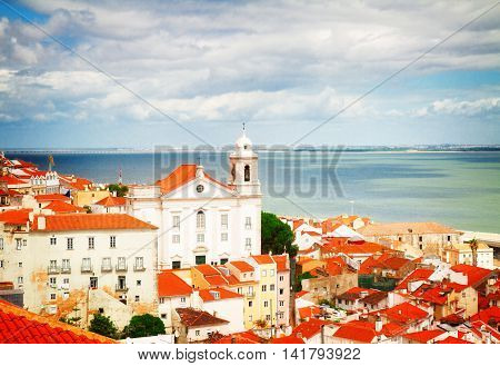 view of Alfama old town from above, Lisbon, Portugal, retro toned