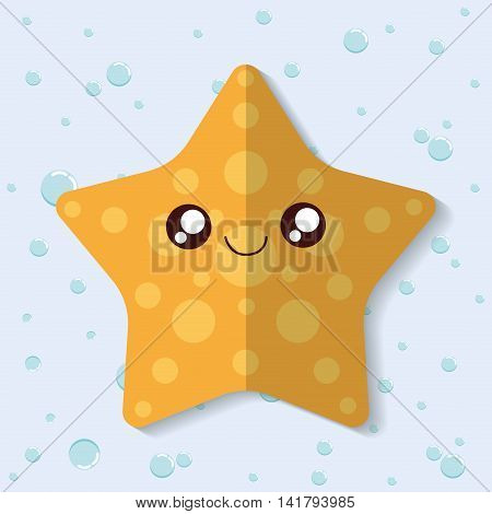 Sea animal cartoon design represented by sea star icon. Colorfull and flat illustration.