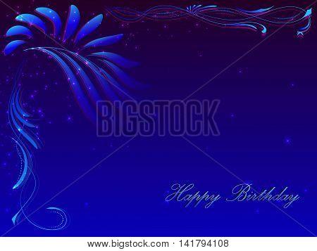 Card With A Congratulation Happy Birthday In Dark Blue Tones