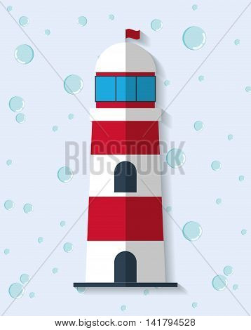 Sea lifestyle design represented by light house icon. Colorfull and flat illustration.