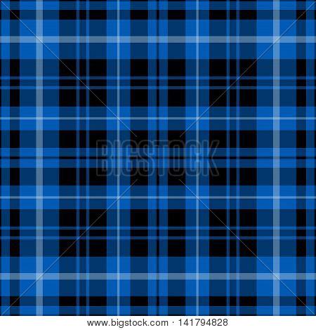 seamless illustration - blue tartan with black and white stripes