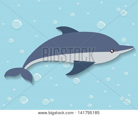 Sea animal cartoon design represented by dolphin icon. Colorfull and flat illustration.