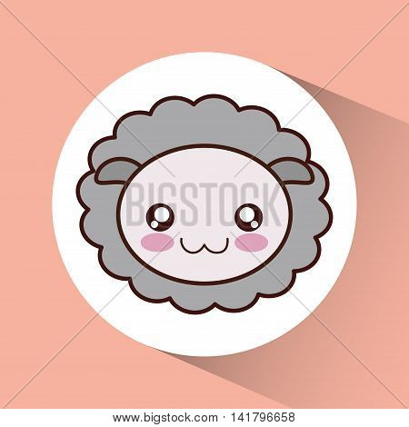 Cute animal design represented by kawaii sheep icon over circle. Colorfull and flat illustration.
