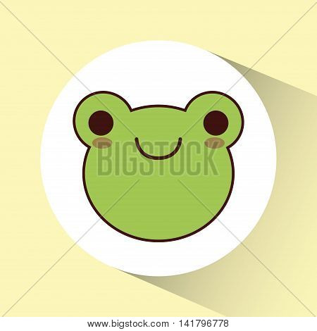 Cute animal design represented by kawaii frog icon over circle. Colorfull and flat illustration.