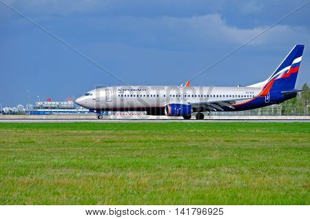 ST PETERSBURG RUSSIA - MAY 11 2016. VQ-BVP Aeroflot Boeing 737 Next Gen airplane. Aeroflot airplane rides on the runway after arrival at Pulkovo airport. Aeroflot is the flag carrier in Russia