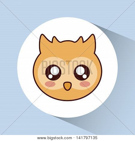 Cute animal design represented by kawaii owl icon over circle. Colorfull and flat illustration.