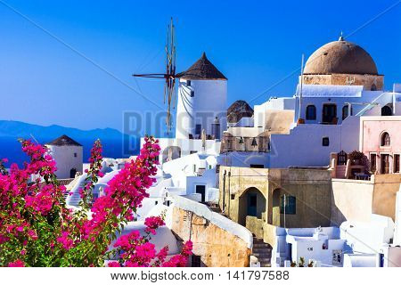 Santorini windmills, Oia. Greece