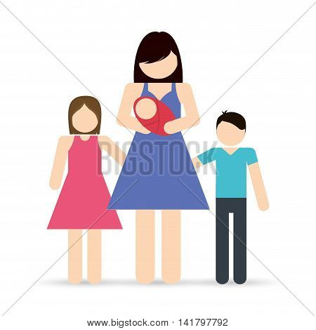 Avatar Family design represented by mother and kids icon. Colorfull and Isolated illustration.