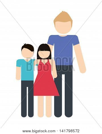Avatar Family design represented by father and kids icon. Colorfull and Isolated illustration.