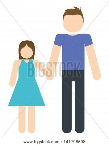 Avatar Family design represented by father and daughter icon. Colorfull and Isolated illustration.