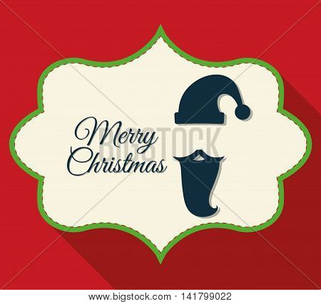 Merry Christmas concept represented by label with santa icon. Colorfull and classic illustration