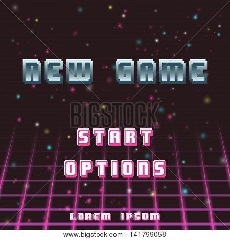Old video game background. Retro sci-fi square. Vector illustration.