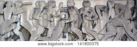 MONTREAL QUEBEC CANADA JULY 30 2016: Armand Filion Low reliefs for the main entrance to the Maurice Richard Arena in Montreal (1960).