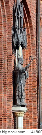 RIGA LATVIA 17 09 2015: Details of St. Peter's Church is a Lutheran church in Riga, the capital of Latvia, dedicated to Saint Peter. It is a parish church of the Evangelical Lutheran Church of Latvia.