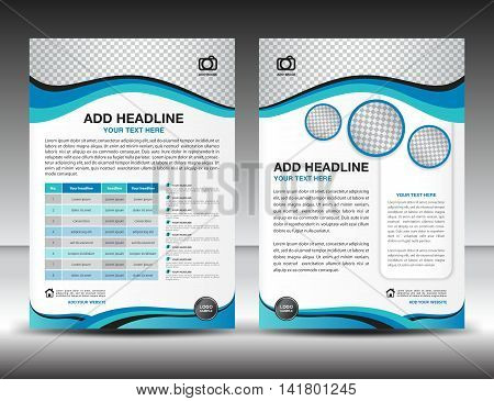 Blue business brochure flyer design layout template in A4 size poster, leaflet ads, newsletter, cover, annual report , magazine ads, catalog, book