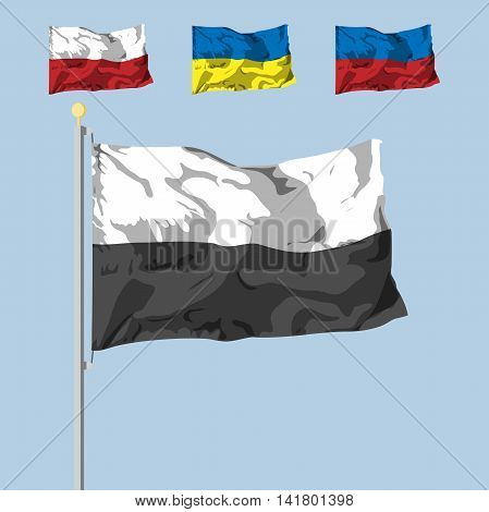 blank of the flag with 2 colors. dinamic shadow effect. Vector illustration. flat design.