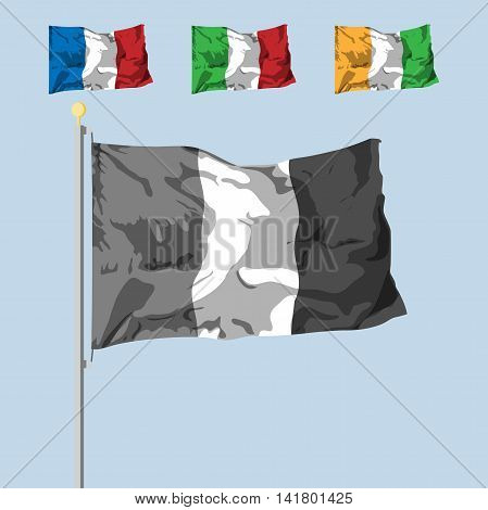 blank of the flag with 3 colors. dinamic shadow effect. Vector illustration. flat design.