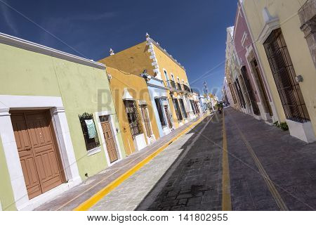 Campeche Mexico - July 7 2016: Historical downtown Campeche retains it's old colonial charm in the colorful architecture that lines the narrow brick streets.