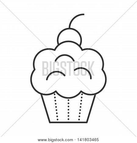 Cupcake with cherries. Bakery food thin line illustration. Party and Celebration icon.