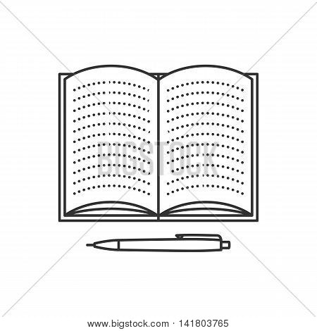Open notebook with lined pages and pen. Thin line vector illustration. Education icon