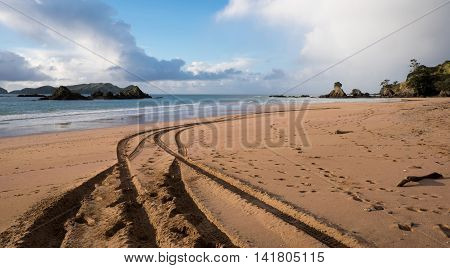 Beach at Tauranga Bay in Northland Far North district of New Zealand NZ