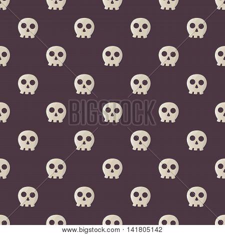 Seamless halloween pattern illustration with funny skulls.