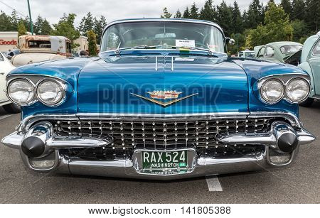 Front view of a 1958 Cadillac 6 August 2016 classic car show in Gig Harbor Washington