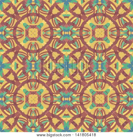 Abstract seamless pattern with geometric and floral ornaments ethnic boho style