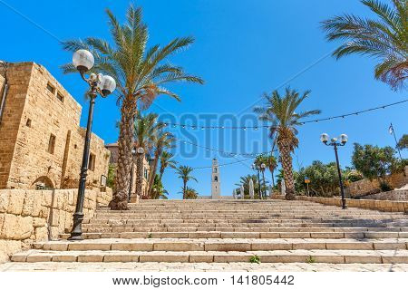 Lampposts and palms along stone stairs under blue sky in old town of Jaffa, Israel.