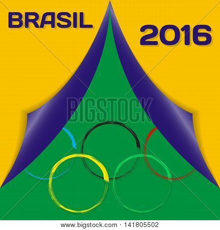 Colors of flag Brazil and sign of Olympics with inscription in Portuguese. Vector Illustration. EPS10