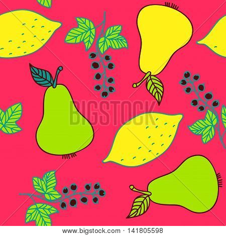 Seamless pattern of currant, pear and lemons. Colorful fruit and berries on red background. Vector image drawn by hand in cartoon style.