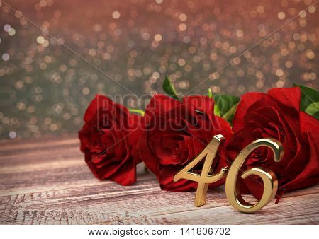 birthday concept with red roses on wooden desk. 3D render - forty-sixth birthday. 46th