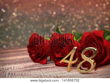 birthday concept with red roses on wooden desk. 3D render - forty-eighth birthday. 48th