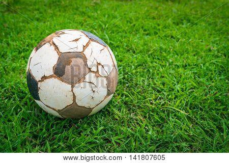 Old soccer ball on fresh spring green grass