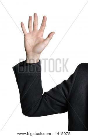 Business Man Raising Hand