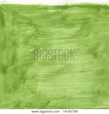 great green watercolor background - watercolor paints on a rough texture paper