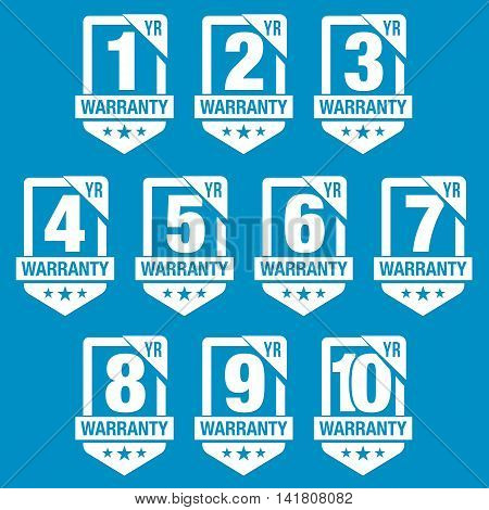 Shield Warranty Badges with One, Two, Three, Four, Five, Six, Seven, Eight, Nine and Ten Years Warranty Terms
