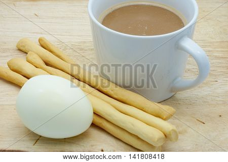 Cup Of Coffee And Grissini, Boiled Egg