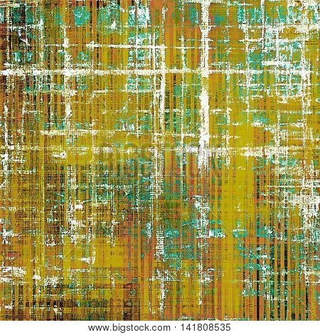 Art grunge background or vintage style texture with retro graphic elements and different color patterns: yellow (beige); brown; green; blue; red (orange); white