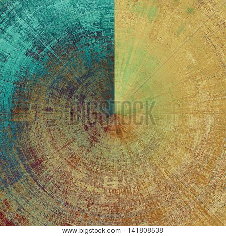Spherical art graphic texture for grunge abstract background. Aged colorful backdrop with different color patterns: yellow (beige); brown; green; blue; purple (violet); cyan