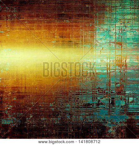 Vintage style background with ancient grunge elements. Aged texture with different color patterns: yellow (beige); brown; green; blue; red (orange); cyan