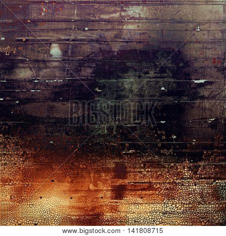 Vintage torn texture or stylish grunge background with ancient design elements and different color patterns: yellow (beige); brown; gray; red (orange); purple (violet); black