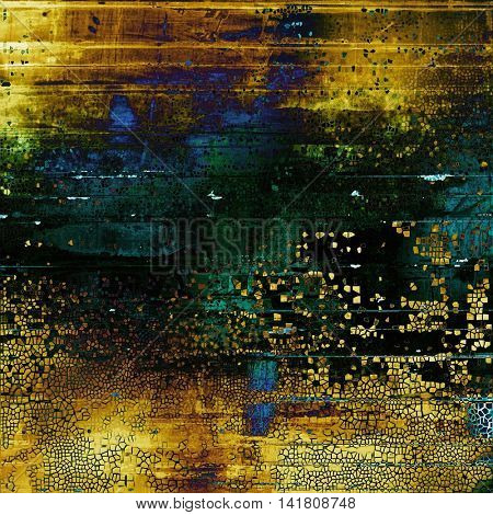Traditional grunge background, scratched texture with vintage style design and different color patterns: yellow (beige); brown; green; blue; black; cyan