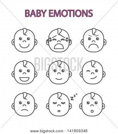 Newborn babies monochrome set of kids emotions children's faces flat vector illustration