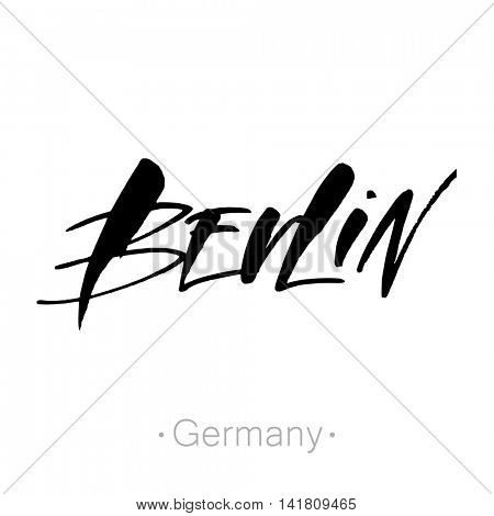 Berlin, Germany hand-lettering calligraphy. Berlin hand drawn vector stock illustration. Modern brush ink. Isolated on white background.