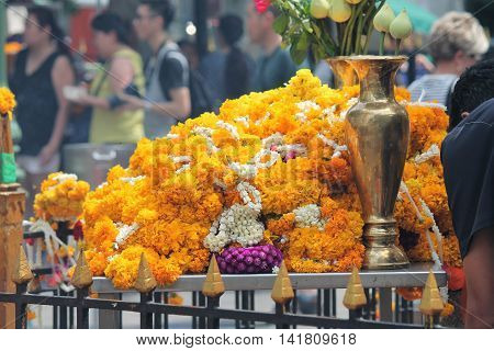 flower offering at a Hindu temple in Thailand
