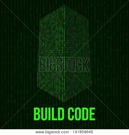Skyscrapers code. Binary digital form of futuristic city building. Vector llustration of matrix abstract 3d tech background. Web developer coding concept.