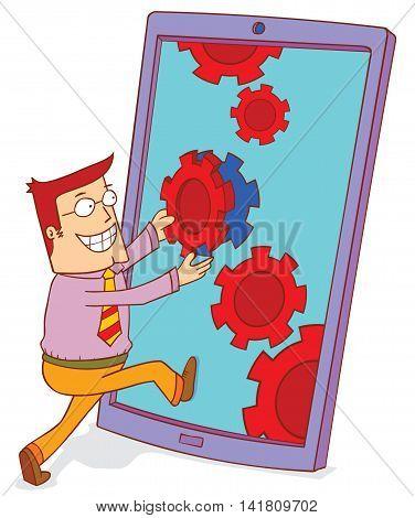 illustration of a man doing smartphone upgrading